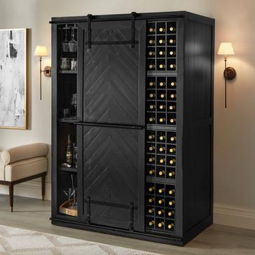 Mesa Sliding Barn Door Armoire - Rustic Black Finish