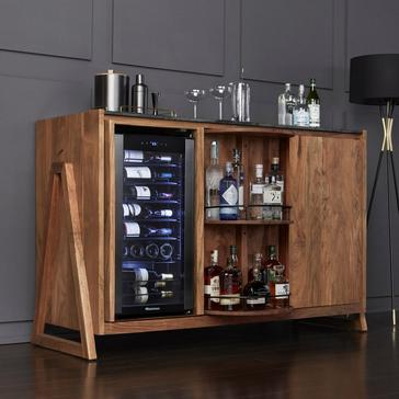 Carousel Acacia Wood Sideboard With Wine Refrigerator
