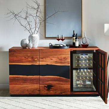 Navarra Acacia Wood and Resin Inlay Sideboard with Cooling Storage Option