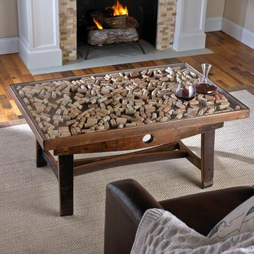 Collector's Display Top Coffee Table with Barrel Stave Legs