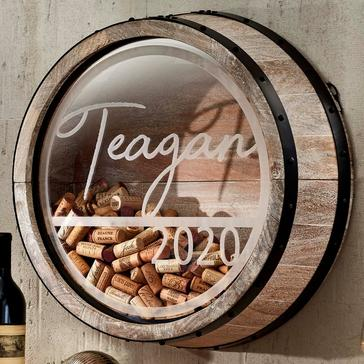Whitewashed Reclaimed Wine Barrel Head Cork Display