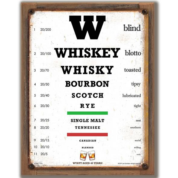 Personalized Whiskey Eye Chart Sign