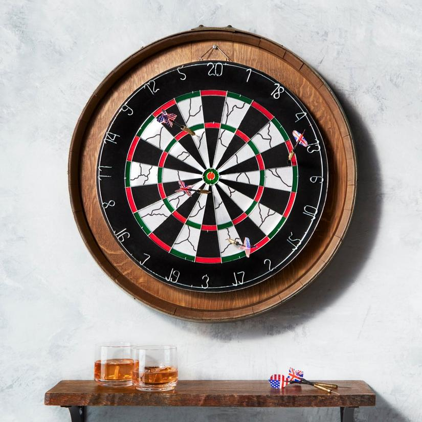 Reclaimed Wine Barrelhead Dartboard Set