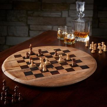 Reclaimed Bourbon Barrel Chess Set