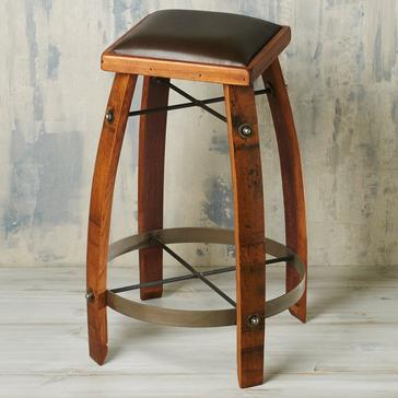 Vintage Oak Wine Barrel Bar Stool 28 Inches with Chocolate Leather Seat