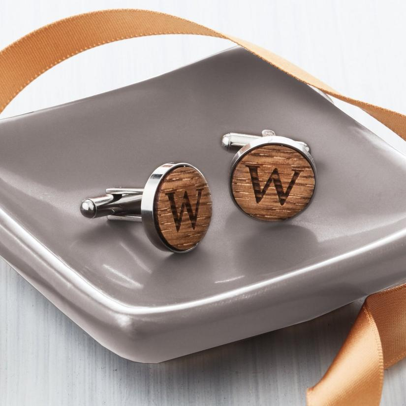 Personalized Reclaimed Wine Barrel Cufflinks