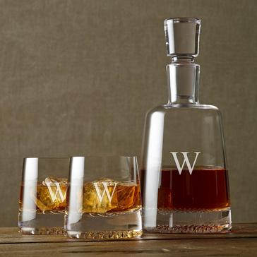 Personalized Diamond Whiskey Decanter & Glasses Set