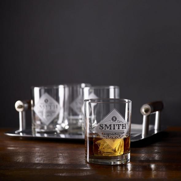 Personalized Etched Premium Spirits Whiskey Glasses (Set of 4)