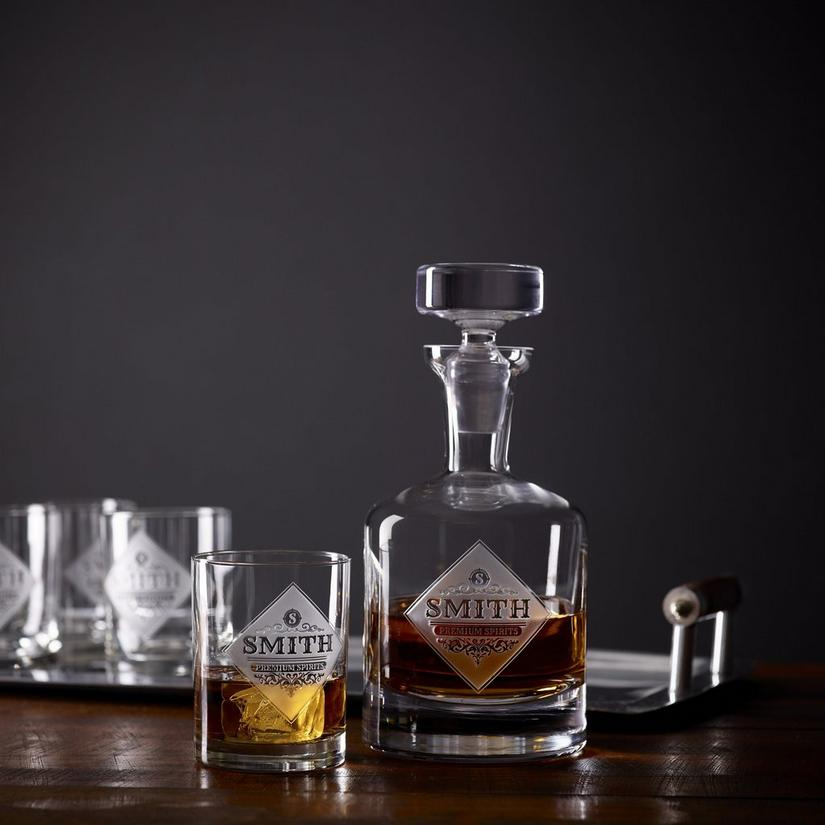 Personalized Etched Premium Spirits Whiskey Decanter and Glasses Set
