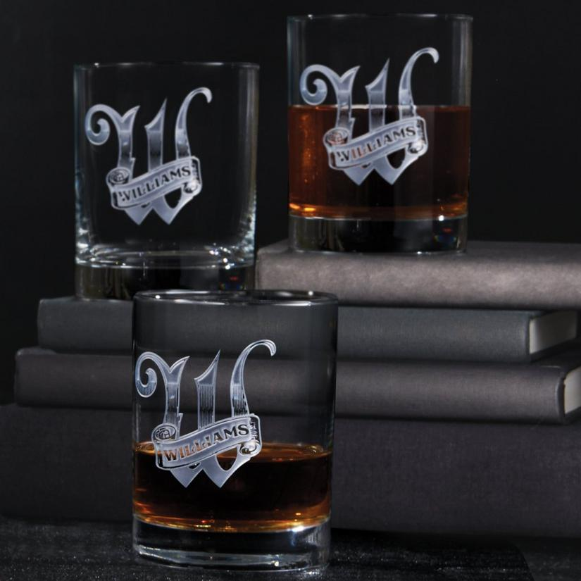 Personalized Deep Etched Whiskey Glasses (Set of 4)