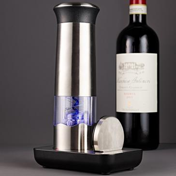 Electric Blue Automatic Wine Opener 3-Piece Set (Includes Foil Cutter & Charging Stand)