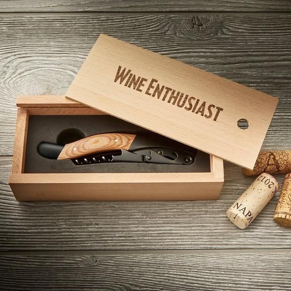 Wine Enthusiast Black Matte and Wood Executive Corkscrew