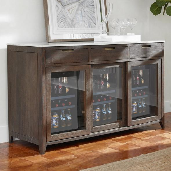 Amador Sliding Glass Door Credenza With Three Wine Refrigerators