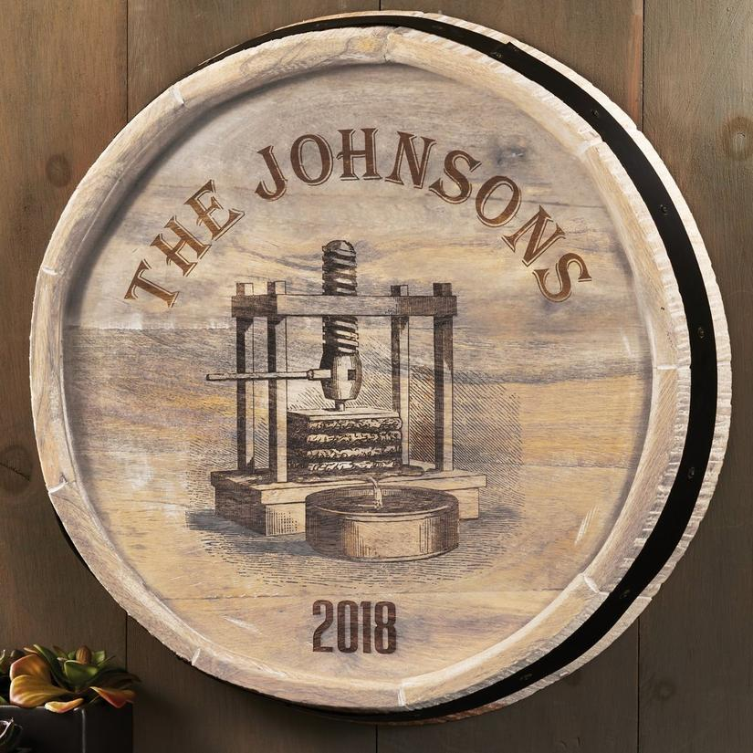 Personalized Quarter Barrel Head Sign With Wine Press Design