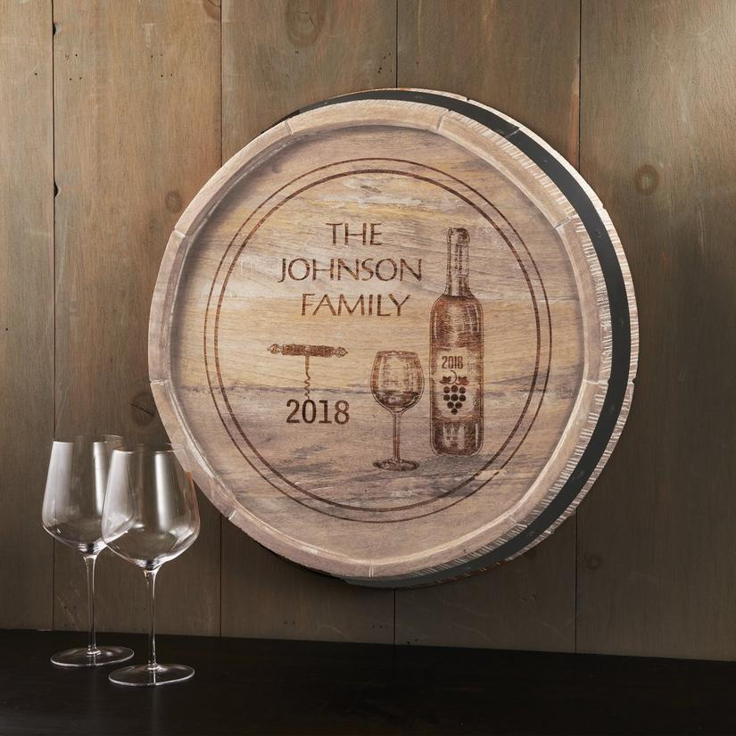 Personalized Quarter Barrel Head Sign With Wine Bottle Design