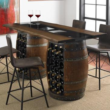 Loire Double Wine Barrel Gathering Table With Glass and Wood Top