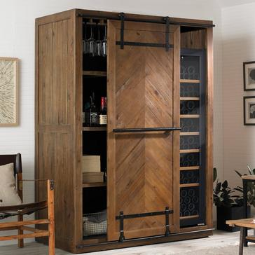 Mesa Sliding Barn Door Armoire with Wine Refrigerator
