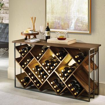 Laiton Wood And Iron 120-Bottle Wine Console