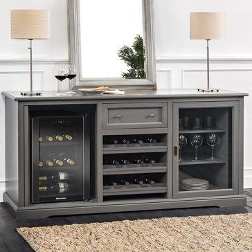 Siena Wine Credenza with Cooling Storage Option (Antique Gray)