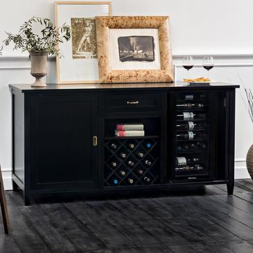 Firenze Wine and Spirits Credenza (Nero) with Wine Refrigerator