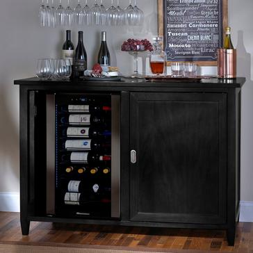 Firenze Mezzo Wine and Spirits Credenza (Nero) with Wine Refrigerator