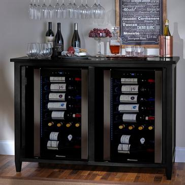 Firenze Mezzo Wine and Sprits Credenza (Nero) with Two Wine Refrigerator