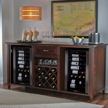 Firenze Wine and Spirits Credenza (Espresso) with Two Wine Refrigerator