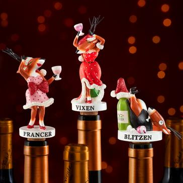 Blitzen, Vixen and Prancer Wine Bottle Stoppers Gift Set