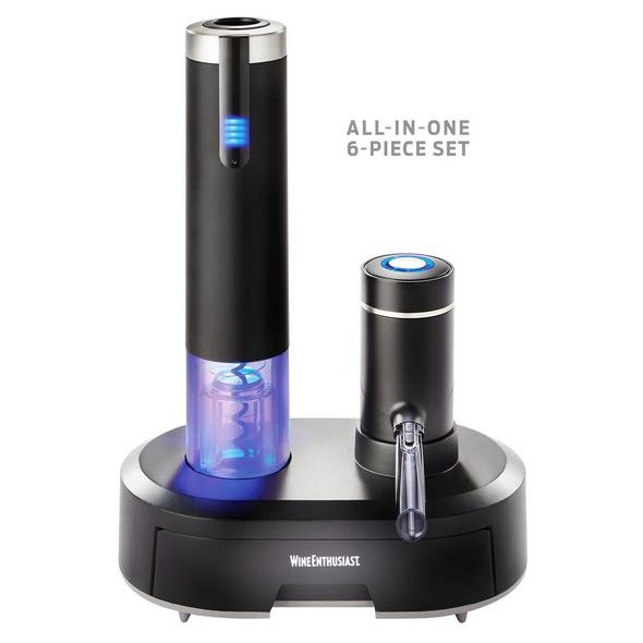 Electric Blue Omega All-In-One Automatic Wine Opener/Preserver and Dispenser/Aerator 6-Piece Set