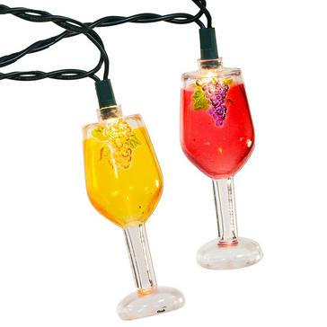 Indoor/Outdoor Wine Glass 10-Light String Set