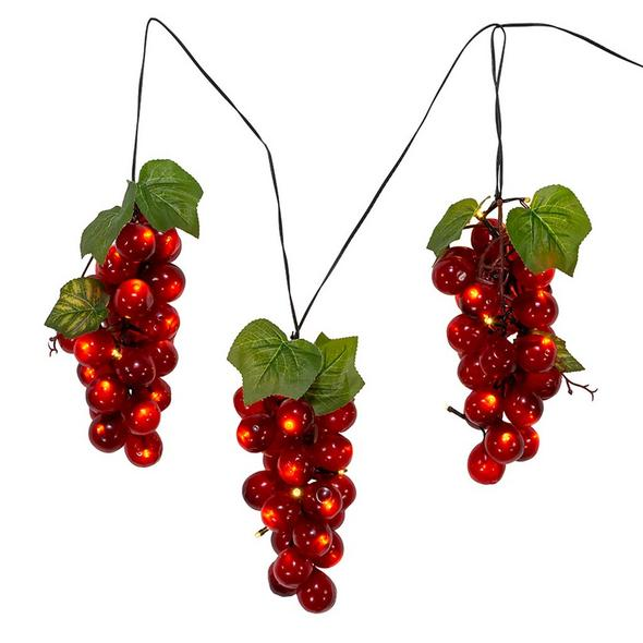 Large Red Grape Cluster Indoor/Outdoor 75-Light LED Light Set