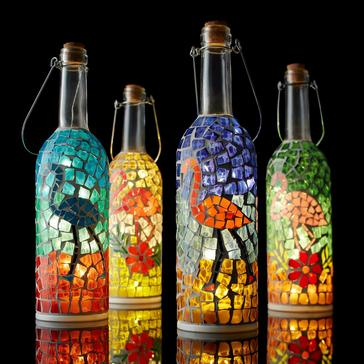 Flamingo Mosaic Wine Bottle Lanterns (Set of 4)
