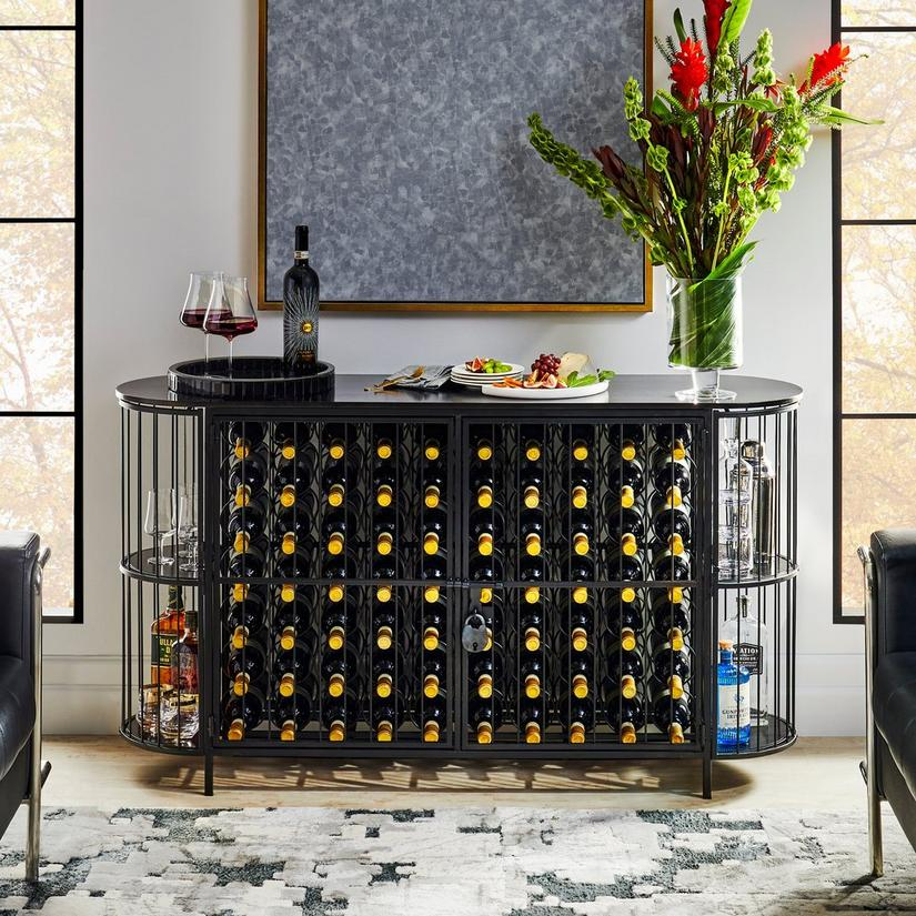 Margaux 70-Bottle Oval Wine Jail Console