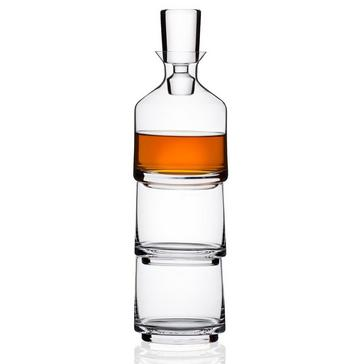 Wine Enthusiast Three-In-One Stacking Decanter & Whiskey Glasses Set