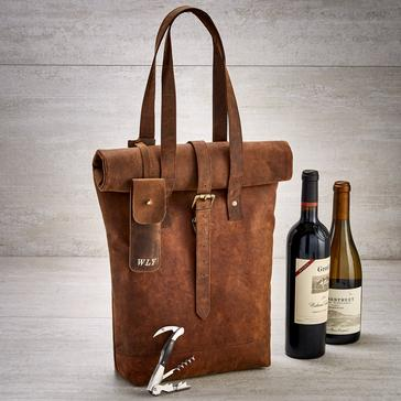Genuine Buffalo Leather 2-Bottle Roll Top Wine Tote with Waiter's Corkscrew