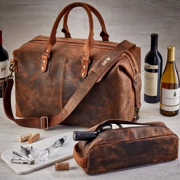 Genuine Buffalo Leather 6-Bottle Weekender Wine Bag with Single Bottle Carrier, Corkscrew & Aerator