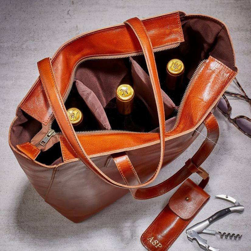Polished Buffalo Leather Women's 3-Bottle Wine Tote with Waiter's Corkscrew