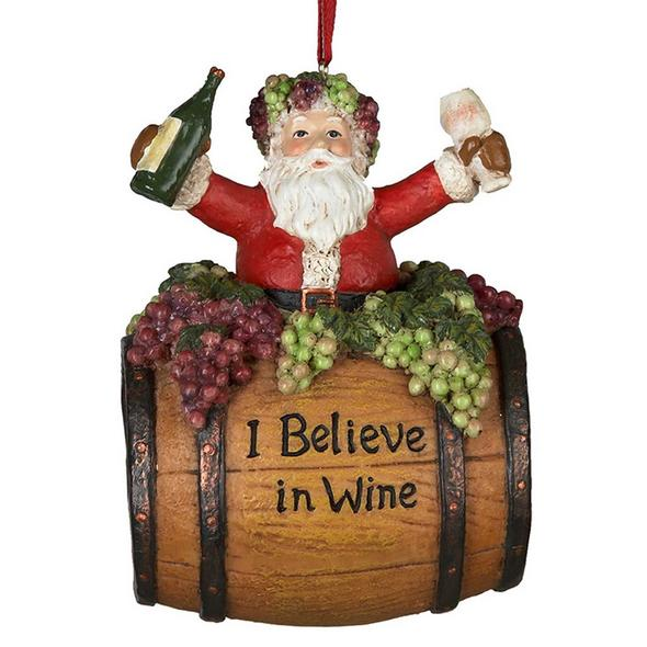"""I Believe in Wine"" Santa Wine Barrel Ornament"