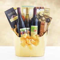 Golden Vineyard Gourmet Wine Gift Basket