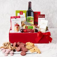 Holiday Gourmet Red Wine, Cheese and More Gift Box