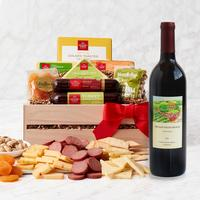 Red Wine with Cheeses and Meats Gift Crate