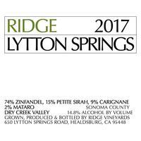 Ridge Vineyards 2017 Lytton Springs Zinfandel Blend, Dry Creek Valley