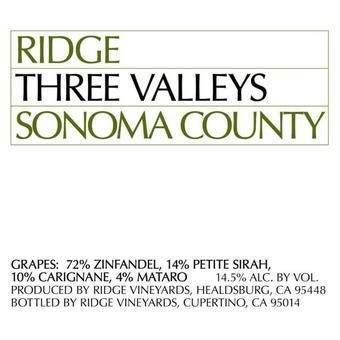 Ridge 2019 Three Valleys Zinfandel Blend, Sonoma County