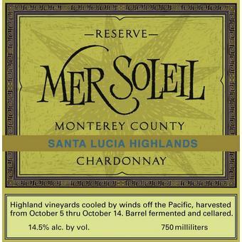 Mer Soleil 2018 Chardonnay Reserve, Santa Lucia Highlands