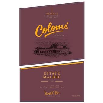 Bodegas Colome 2018 Estate Malbec, Salta