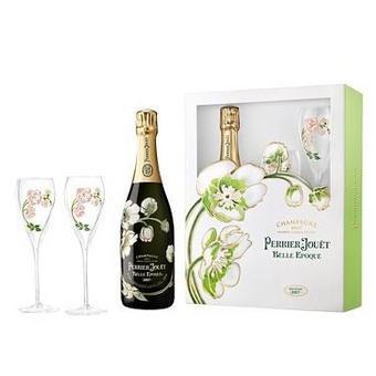 Perrier Jouet 2012 Belle Epoque Brut Champagne Gift Set w / Two Matching Painted Glasses