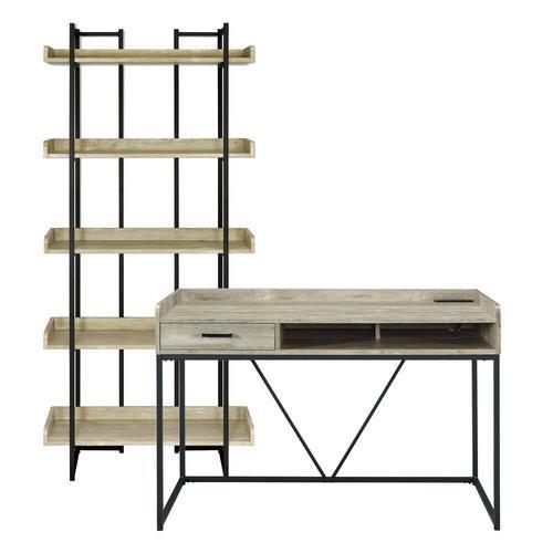 Preston Oak Desk and Bookshelf