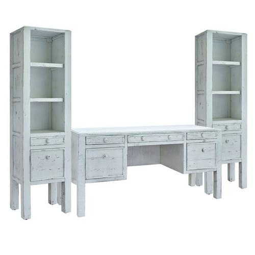 Leo White Desk with 2 Side Piers