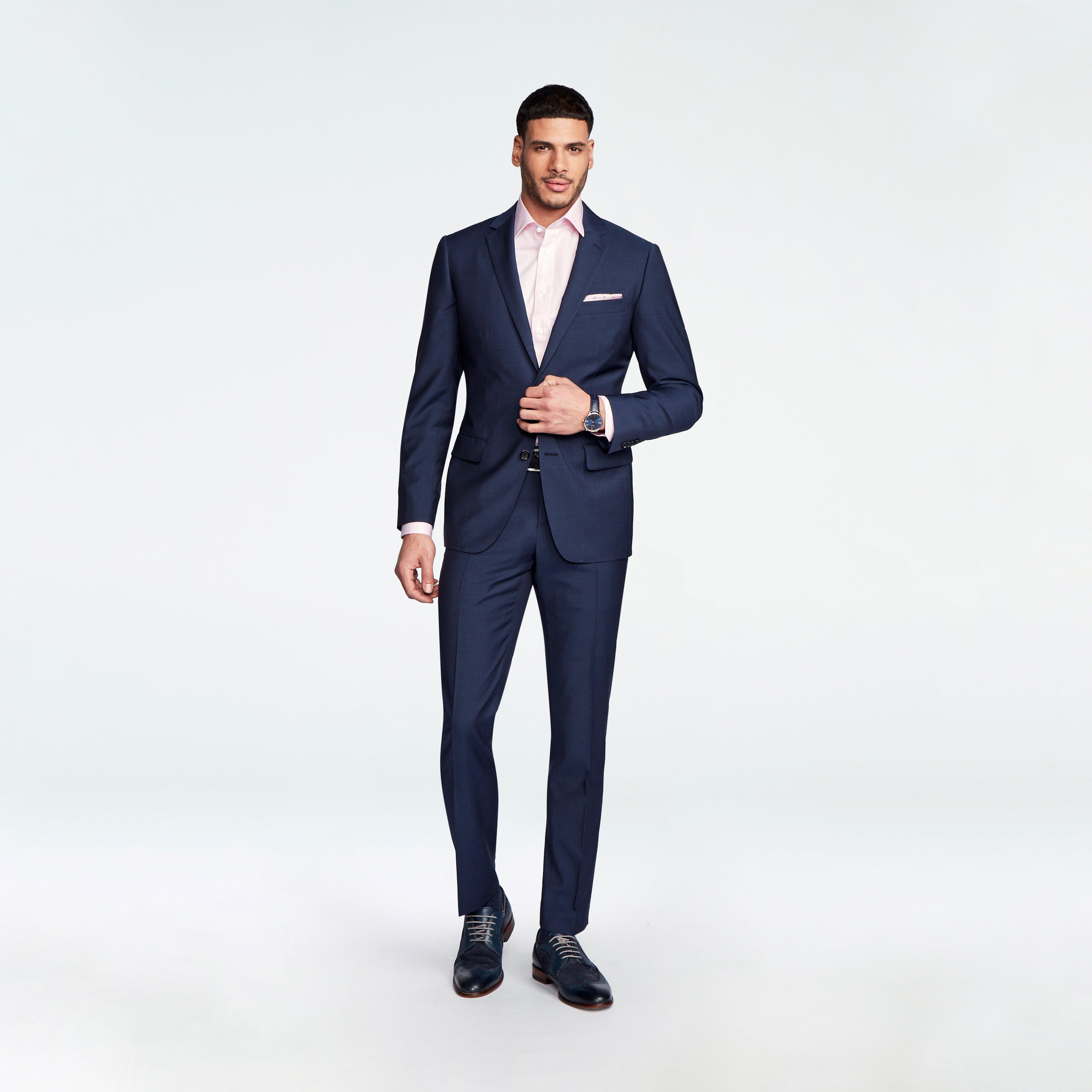 Indochino Men's Custom Hamilton Sharkskin Blue Luxury Suits