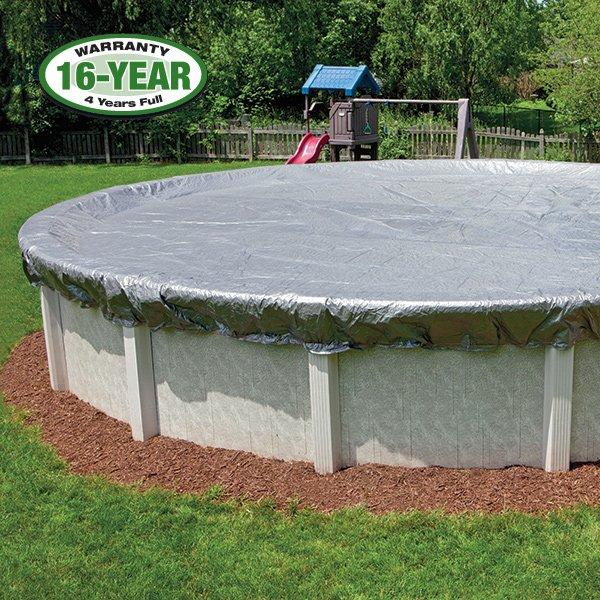 16 Year 28 Ft Round Pool Winter Cover 0 Clips